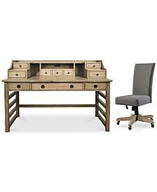 Ridgeway Home Office 2-Pc. Set (Leg Desk With Hutch & Upholstered Desk Chair)
