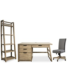 Ridgeway Home Office 3-Pc. Set (Single Pedestal Desk, Upholstered Desk Chair, & Leaning Bookcase)