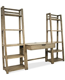 Ridgeway Home Office 3-Pc. Set (Wall Desk & Two Leaning Bookcases)