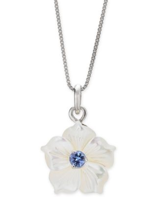 """Mother-of-Pearl & Tanzanite (1/4 ct. t.w.) Flower 18"""" Pendant Necklace in Sterling Silver"""