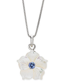 "Mother-of-Pearl & Tanzanite (1/4 ct. t.w.) Flower 18"" Pendant Necklace in Sterling Silver"