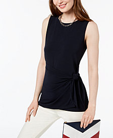 Tommy Hilfiger Sarong-Tie Sleeveless Top, Created for Macy's