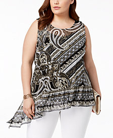 I.N.C. Plus Size Printed Asymmetrical Ruffle-Hem Top, Created for Macy's