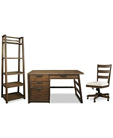 Ridgeway Home Office 3-Pc. Set (Single Pedestal Desk, Wood Back Chair, & Leaning Bookcase)