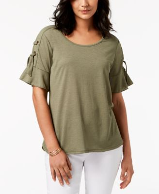 Lace Up Ruffle Sleeve Top, Created for Macy's