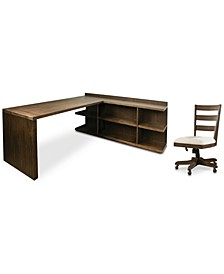 Ridgeway Home Office 3-Pc. Set (Return Desk, Penisula USB Outlet Bookcase, & Wood Back Chair)