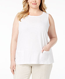 Eileen Fisher Plus Size Organic Cotton Boat-Neck Top