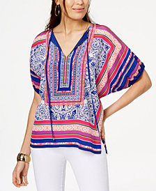 Trina Turk Silk Printed Peasant Top