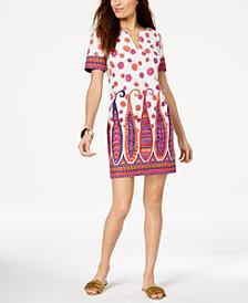 Trina Turk Split-Neck Scarf-Print Dress