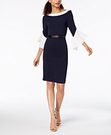 Ivanka Trump Belted Colorblocked Bell-Sleeve Dress