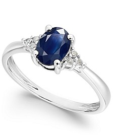 Sapphire (9/10 ct. t.w.) and Diamond Accent Ring in 14k White Gold (Also Available in Certified Ruby and Tanzanite)