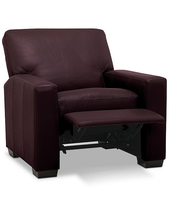 "Furniture Ennia 36"" Leather Pushback Recliner, Created for Macy's"