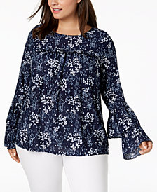 MICHAEL Michael Kors Plus Size Tiered Bell-Sleeve Blouse