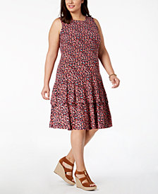 MICHAEL Michael Kors Plus Size Tiered-Hem Drop-Waist Dress