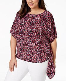 MICHAEL Michael Kors Plus Size Floral-Print Side-Tie Top