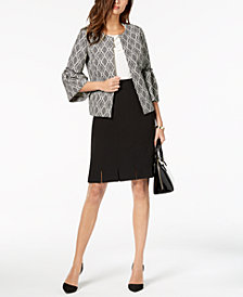 Kasper Printed Bell-Sleeve Jacket & Pleated Pencil Skirt