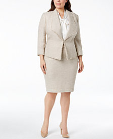 Kasper Plus Size Fringed Tweed Jacket & Skirt