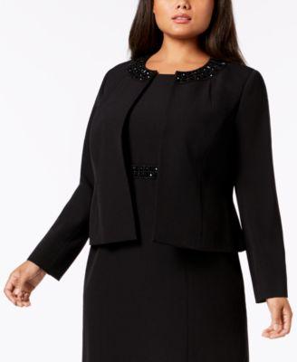 Plus Size Embellished-Collar Jacket