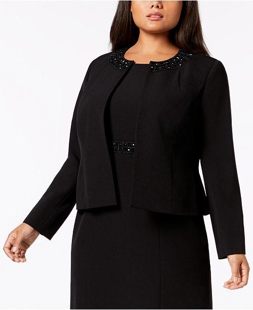 Kasper Plus Size Embellished-Collar Jacket