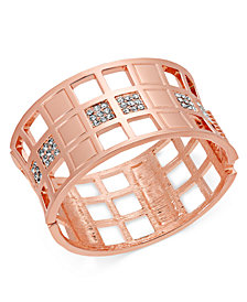 I.N.C. Gold-Tone Crystal Checkered Bangle Bracelet, Created for Macy's