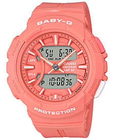 Baby-G Women's Analog-Digital Orange Resin Strap Watch 44.3mm