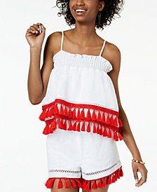 XOXO Juniors' Smocked Tassel-Trim Crop Top