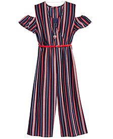 Beautees Big Girls 2-Pc. Cold Shoulder Jumpsuit & Necklace Set