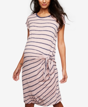 Vintage Maternity Clothing Styles 1910-1960 A Pea In The Pod Maternity Side-Tie Striped Dress $99.97 AT vintagedancer.com