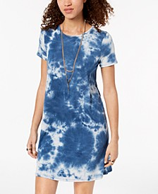 Juniors' Tie-Dyed T-Shirt Dress