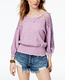 Free People Lace-Trim Peasant Sweater