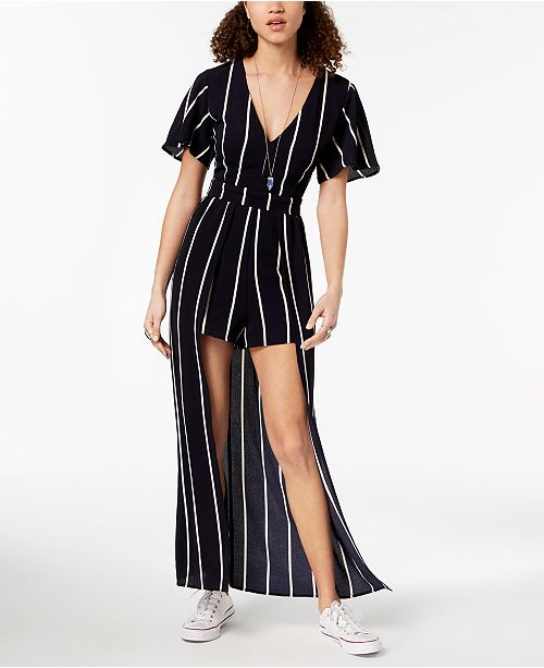 Juniors' Striped Overlay Romper