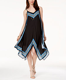I.N.C. Border-Trim Handkerchief-Hem Dress, Created for Macy's