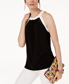 I.N.C. Colorblocked Illusion-Contrast Top, Created for Macy's