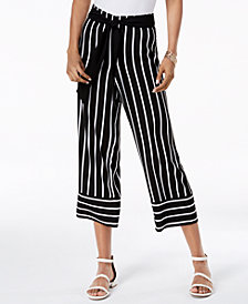 I.N.C. Petite Striped Cropped Wide-Leg Pants, Created for Macy's