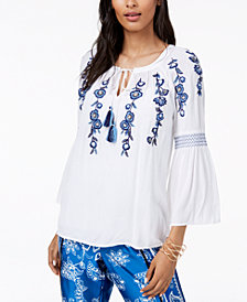 I.N.C. Embroidered Peasant Top, Created for Macy's
