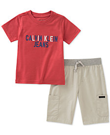 Calvin Klein Little Boys 2-Pc. Graphic-Print T-Shirt & Shorts Set