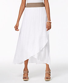 NY Collection Petite Faux-Wrap Skirt