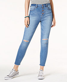 Tinseltown Juniors' Ripped Button-Fly Skinny Jeans