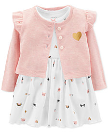 Carter's Baby Girls 2-Pc. Heart-Print Bodysuit Dress & Cardigan Set