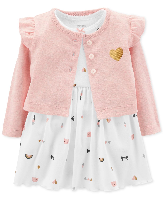 7459c27685 MACY'S-Carter's Baby Girls 2-Pc. Heart-Print Bodysuit Dress ...