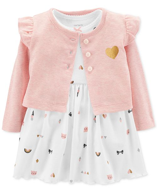 0bed119b550a Carter s Baby Girls 2-Pc. Heart-Print Bodysuit Dress   Cardigan Set ...