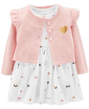 Carters Baby Girls 2Pc HeartPrint Bodysuit Dress  Cardigan Set