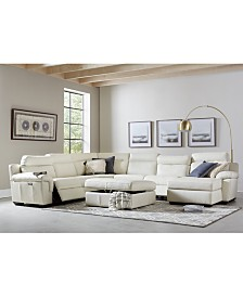 Julius II Leather Power Reclining Sectional Sofa Collection with Power Headrests and USB Power Outlet, Created for Macy's