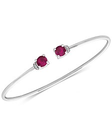 Ruby (1-1/3 ct. t.w.) and Diamond Accent Cuff Bangle Bracelet in 14K White Gold