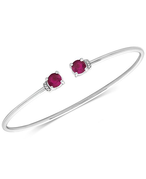 Macy's Ruby (1-1/3 ct. t.w.) and Diamond Accent Cuff Bangle Bracelet in 14K White Gold