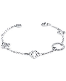 Le Fleur Sterling Silver Bracelet with White Topaz and Stainless Steel Cable