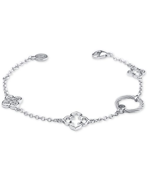 CHARRIOL Le Fleur Sterling Silver Bracelet with White Topaz and Stainless Steel Cable