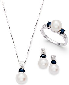 Cultured Freshwater Pearl and Oval Sapphire Collection with Diamond Accents in 14k White Gold