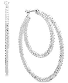 Nine West Textured Double Hoop Earrings