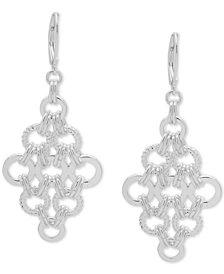 Nine West Silver-Tone Circle Link Chandelier Earrings